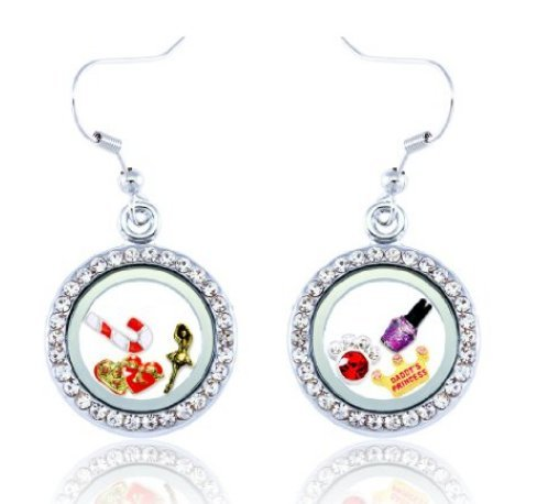 1 Pair of Rhinestone Round Floating Locket EarringBONUS Choose 6 Floating Charms (Origami Owl Earrings)