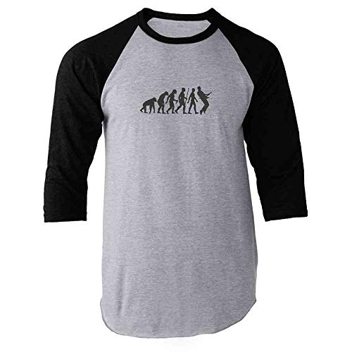(Pop Threads Guitar Evolution Black L Raglan Baseball Tee Shirt)