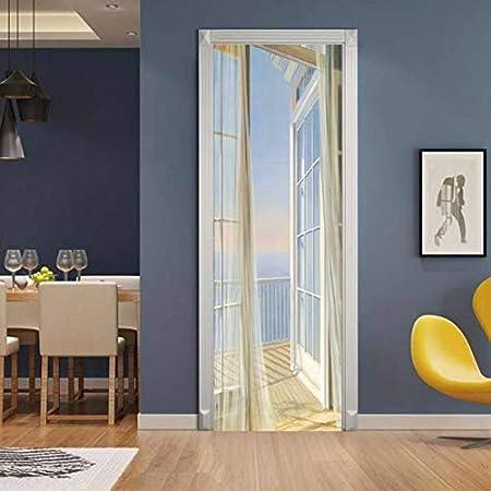 Adhesivo mural de la puerta en 3D Balcón con vista al mar ...