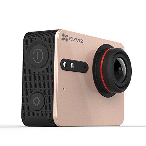 EZVIZ 5 PLUS Ultra HD 4K Video Wifi Sports Action Camera with Waterproof Touchscreen Case, Gold - Flip Video Underwater Case
