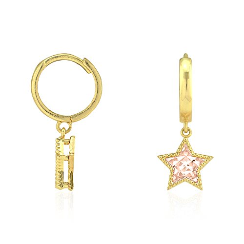 14k Yellow & Rose Gold Milgrain Diamond Cut Star Huggie Hoop Dangle Drop Earrings 0.87
