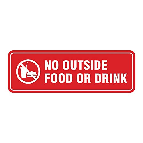 New Office Sign Plastic No Outside Food or Drink Door/Wall Sign -Red for Men, Women, Unisex 3