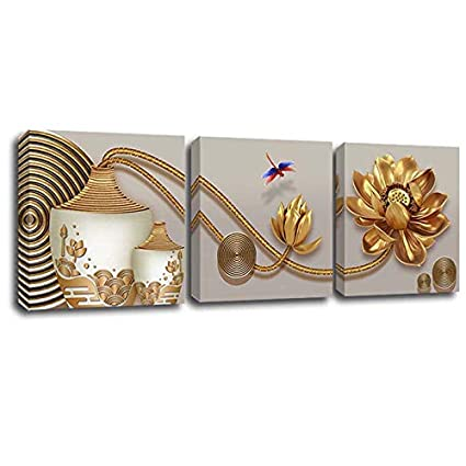 Amazoncom Yumeart Gold Lotus Flower And Vase Modern Canvas Art