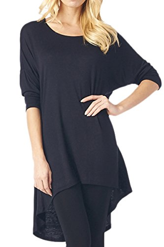 82 Days Womens Rayon Span Plus To Regular High   Low Tunic With 3 4 Sleeves   Black L