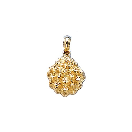 14k Yellow Gold Nautical Charm Pendant, Textured Oyster Shell, 2-D 14k Yellow Gold Oyster