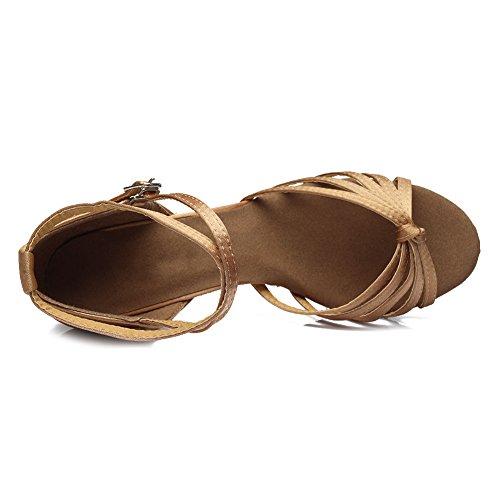 HROYL Zapatos de baile/Zapatos latinos de satén mujeres ES7-F17 7CM Beige