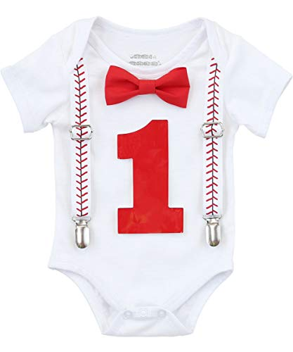 Noah's Boytique Baby Boy First Birthday Outfit Baseball Theme Party Shirt Red Bow Red Number One 6-12 -