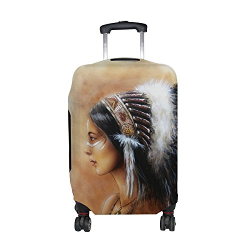 Native American Indian Art Prints Luggage Cover Travel Suitcase Protector Fits 23-26 Inch Luggage ()