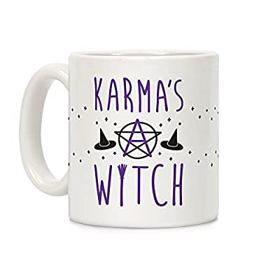 Karma's A Witch White 11 Ounce Ceramic Coffee Mug by LookHUMAN