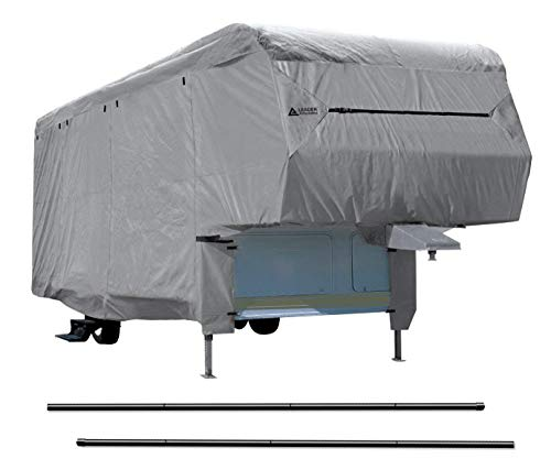 - Leader Accessories New Easy Setup 5th Wheel RV Trailer Cover with Assist Steel Pole (33'-37')
