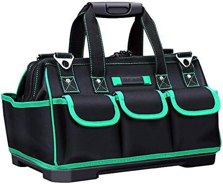 ツールバッグ プロフェッショナル多機能ツールの収納袋オーガナイザー用ハンド/パワーツールマルチポケット耐摩耗性ラバーベース 工具収納便利 (Color : Black, Size : 16inch)