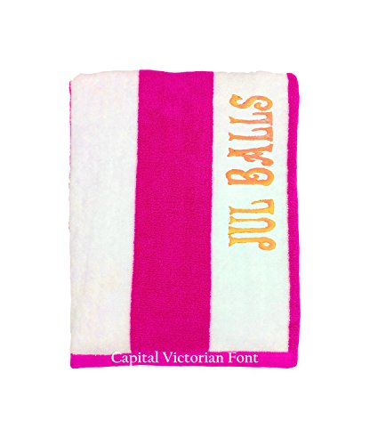 (byLora Embroidered Terry Towel for Beach, Pool - Personalized Embroidered Towel for friends and Family - Fuchsia -White)