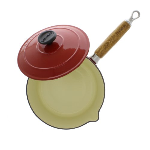 Chasseur Cast Iron Casserole - Chasseur 2.5-quart Red French Enameled Cast Iron Saucepan With Wooden Handle