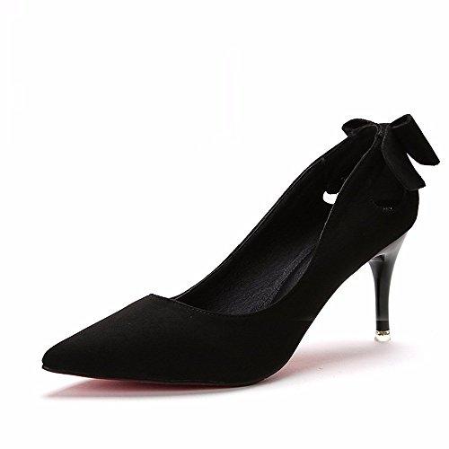 HXVU56546 Durante La Primavera Y El Otoño Con La Nueva Ultra High Heels Zapatos De Mujer Con La Punta Fina De Satén Zapata Único ,39, Negro