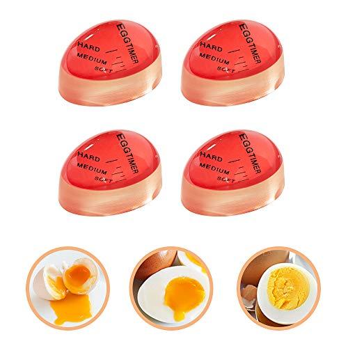 Egg Timer, 4 Pack Heat Sensitive Hard Medium Soft Boiled Egg Timer Color Changing Indicator Reusable Egg Cooking Timer ()