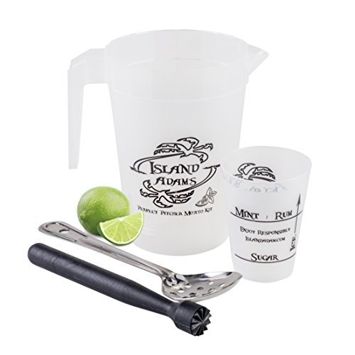 Perfect Pitcher Mojito Kit - tools and recipe for a perfect pitcher of mojitos every time. Mojito pitcher, muddler, spoon, measuring cup, recipe, guide. This is the bar set for fresh homemade mojitos.