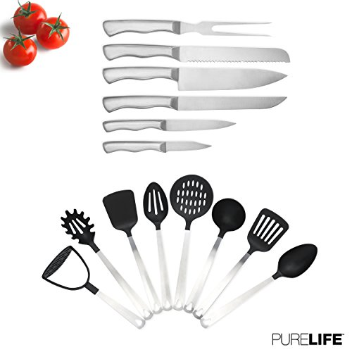 8pc Kitchen Utensil Set + 6 Knife Set by PureLife - Stainless Steel Cooking Utensils + Full Tang Stainless Steel Kitchen Knife Set - Nonstick Heat Resistant Cooking Tools & (8pc Stainless Steel Kitchen Tool)