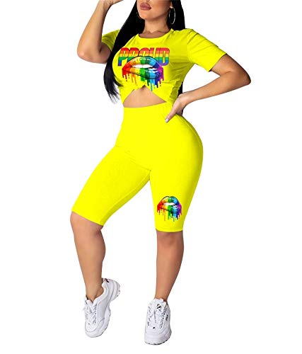 Women's Casual Two Piece Outfits Multicolor Lips Print Short Sleeve Crop Top T-Shirt High Waist Skinny Shorts Set Yellow