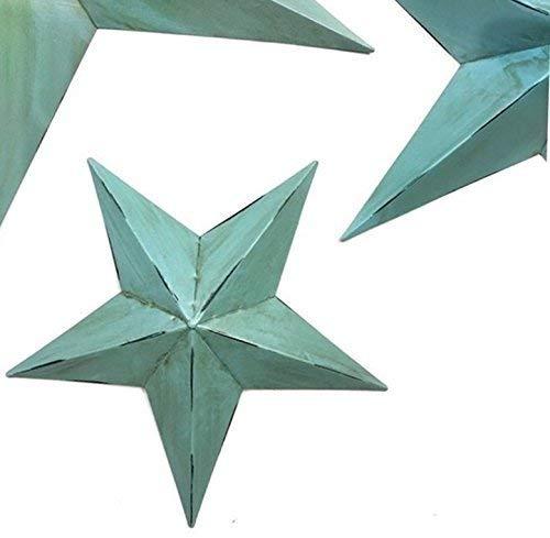 Bellaa 21352 Star Metal Wall Decor Set 3 Green Blue 12//18//24 inch