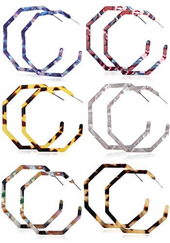 (6 Pairs Acrylic Statement Earrings for Women Resin Earrings Geometric Octagon Earrings Bohemian Mottled Hoop Earrings Resin Acetate Drop Dangle Earrings Fashion Jewelry for Women)