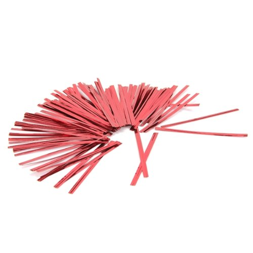 100 Pcs Red Metallic Twist Ties for Cello Candy Bags Party 8cm TOOGOO(R) AEQW-WER-AW142053