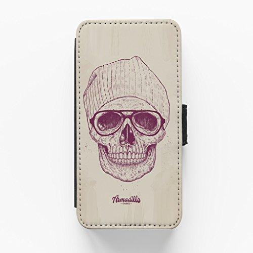 Cool Skull Hochwertige PU-Lederimitat Hülle, Schutzhülle Hardcover Flip Case für iPhone 6 / 6s vom Balazs Solti + wird mit KOSTENLOSER klarer Displayschutzfolie geliefert