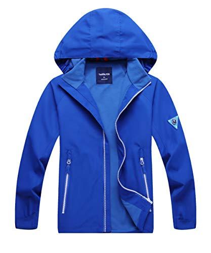 (Hiheart Boys Outdoor Hooded Jackets Fleece Lined Waterproof Windbreaker Blue)