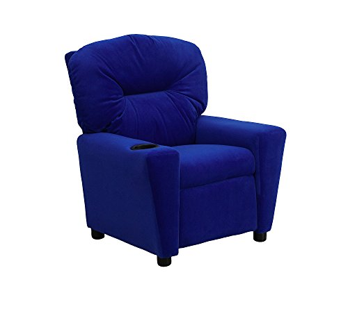 Contemporary Blue Microfiber Kids Recliner with Cup Holder BT-7950-KID-MIC-BLUE-GG