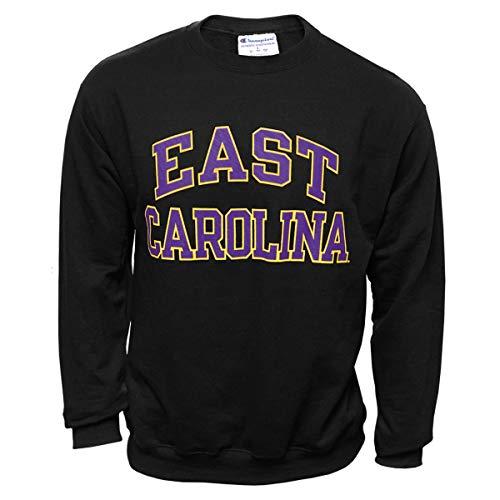 Champion East Carolina Black Eco Powerblend Crew Neck Swestshirt Purple and Gold Graphic ECU (X-Large) ()