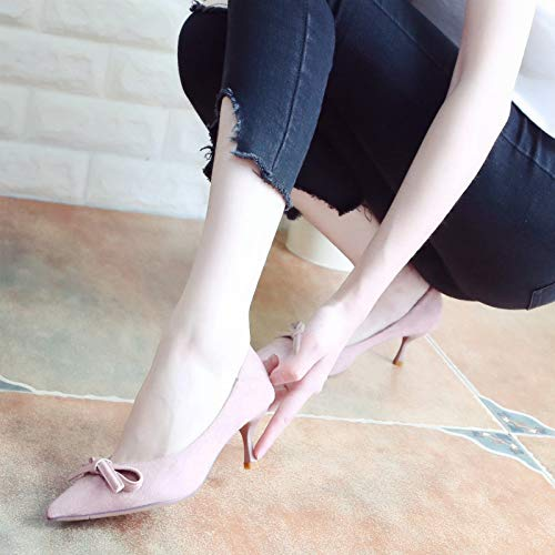 Sweet Pink Shoes Single Shallow Pointed Shoes Mouth Heels Shoes Thin Autumn Nine Thirty Bow Fashion KPHY qZgvSax