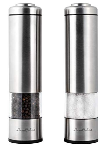 Electric Pepper Grinder or Salt Grinder Mill Set (Pack of 2) by LuxeCulina | Battery Operated with Light | Automatic Shakers with Adjustable Coarseness