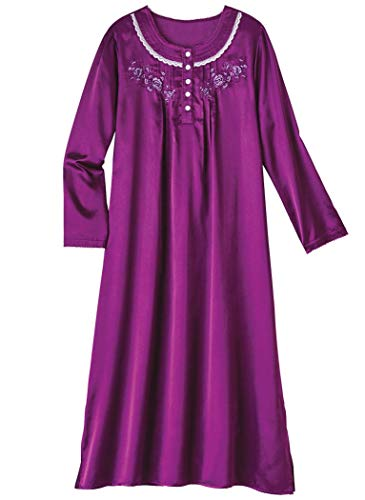 AmeriMark Brushed Back Satin Nightgown Plus Size -