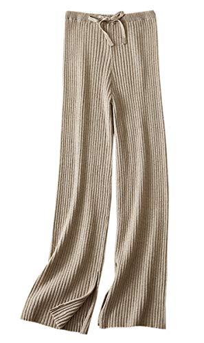 SANGTREE Women's Drawstring Solid Plain Knitted Wide Leg Cashmere Lounge Pants, Camel, Medium