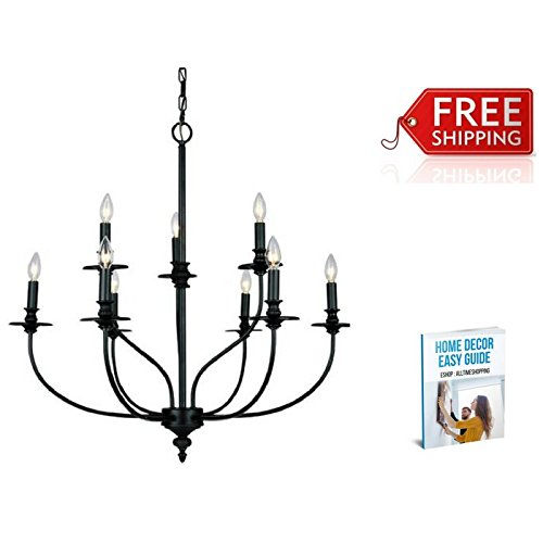 Chandelier Lighting Modern Black for Dining Room Living Room Bedroom Antique Metal Contemporary Table Chandelier Centerpiece & eBook by AllTim3Shopping