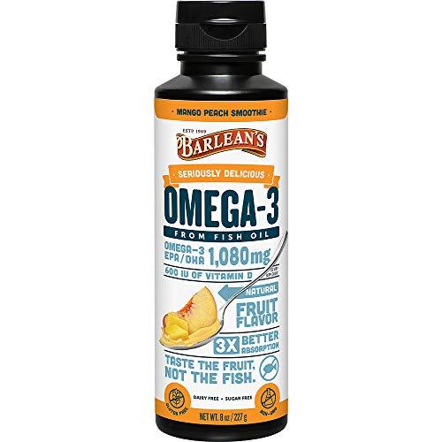 - Barlean's Seriously Delicious Omega-3 Fish Oil, Mango Peach Smoothie, 8oz