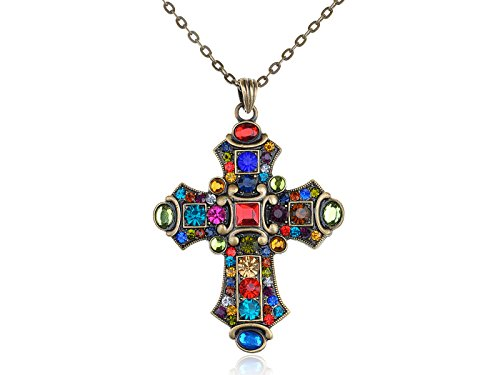 Alilang Ornate Antique Golden Tone Colorful Rhinestone Cross Pendant Necklace -