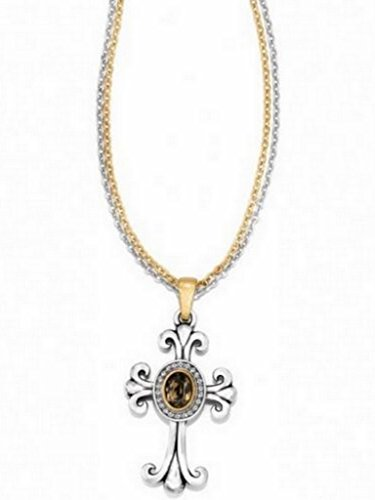 BRIGHTON LION'S EYE REVERSIBLE CROSS MULTI-CHAIN NECKLACE SILVER GOLD