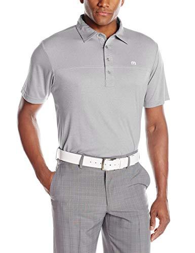 TravisMathew Men's Player Special Shirt, Heather Light Grey, ()