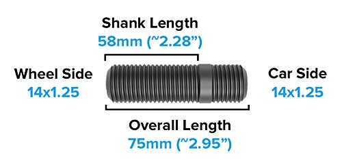 3 20pc 14x1.25 Wheel Stud Conversion 58mm Shank Length 75mm for Newer BMW: 228i 320i 328i 335i 428i 435i 528i 535i 535d 550i F10 F30 640i 740i 750i M3 M4 M5 M6 X3 X5 2.25 Total Length