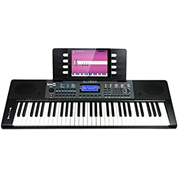 RockJam 61 Key (RJ461 61-Key Portable Electric Keyboard Power Supply, Sheet Music Stand, Pitch Bend and Simply Piano App, 61 Key (