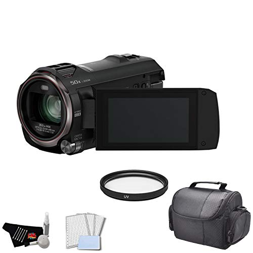 Panasonic HC-V770K Full HD Camcorder with 20x Optical Zoom | Twin Camera | WiFi - Bundle with UV Filter + Carrying Case + More