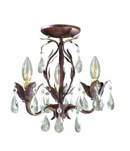 World Imports 81023-62 Bijoux Collection 3-Light Semi-Flush Convertible Chandelier, Weathered Bronze - Convertible Mini Chandelier