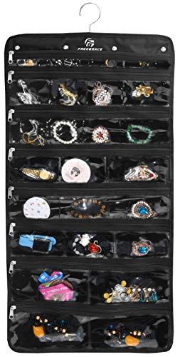 (Freegrace Premium Hanging Jewelry Organizer Revolving Hanger - Secure Zipper Closure - 50 Pockets/Two-Side Pockets - Foldable Storage & Display Solution Jewelry & Bijoux - Black)