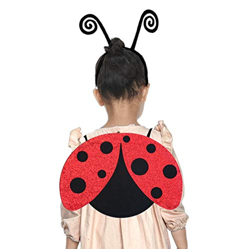 iROLEWIN Ladybug Wings Costume for Toddler Girls with Antenna Headband for Kids Halloween Glitter Dress-up Red Black