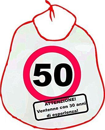 la bavaglia per il festeggiato di 50 anni buon compleanno ideale come idea regalo