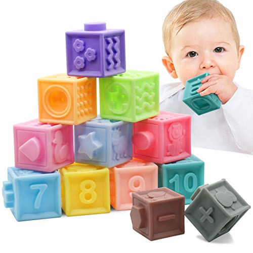 MARUMINE Baby Blocks Squeeze Soft Building Blocks Pack of 12PCS, Teething Chewing Stacking Toys Bath Play Set with Numbers Animals Textures Sensory & Matching Game for 6 Month and Up