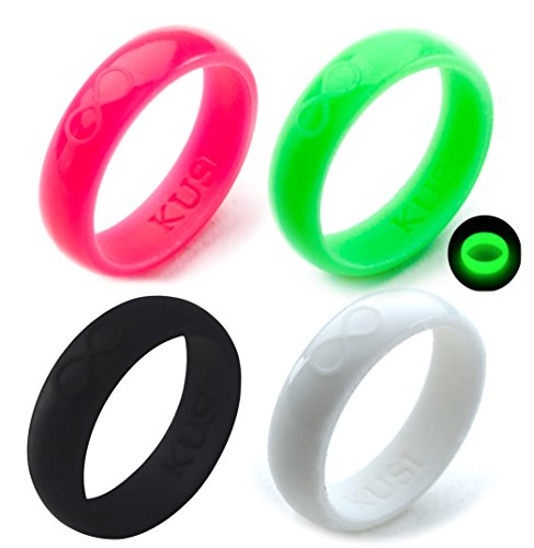 KUSI Silicone Wedding Ring Set for Women, Size 6, Black, Green Glow in the Dark, White, Hot Pink, Silicone Band 4 Pack Rings -
