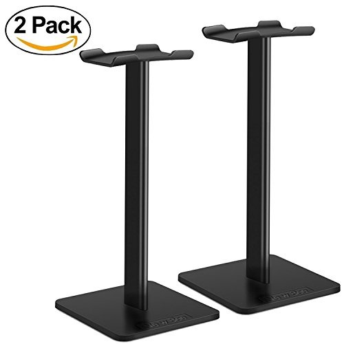 Headphone Stand Headset Holder New Bee Earphone Stand with Aluminum Supporting Bar Flexible Headrest ABS Solid Base for All Headphones Size (2-Pack)