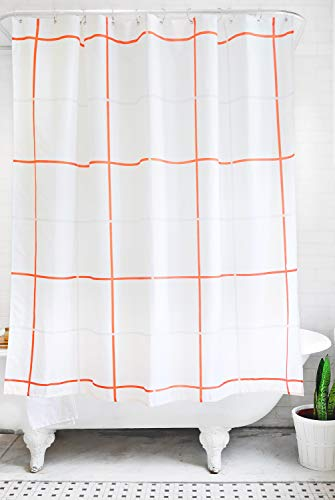 orange and grey shower curtain - 2
