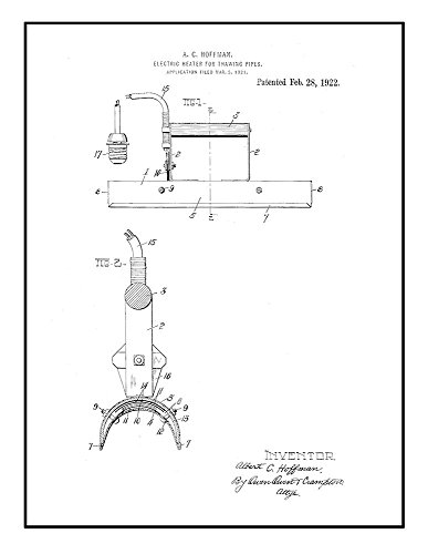 Electric Heater for Thawing Pipes Patent Print Black Ink on White with Border (5